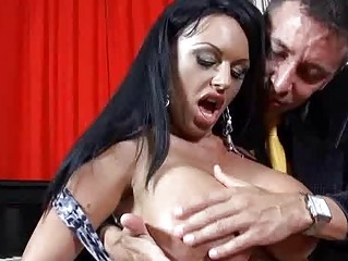 Heavy chested milf with black hair does deep mouth