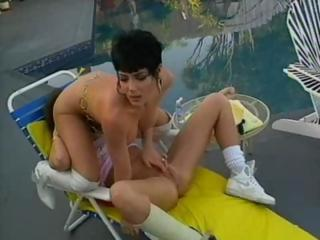 Hot Jeanna Fine is with her lesbian lover having poolside sex