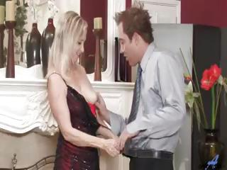 Blonde granny is sex starved and sucks and fucks this big cock