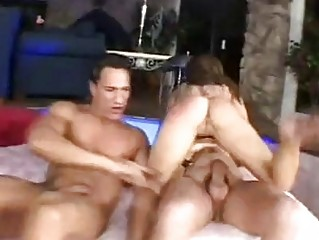 Hungry for cock brunette gets slammed by two hunks in trio