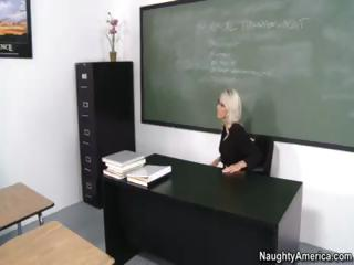 Blonde Emma Starr is the teacher who teaches student about sex