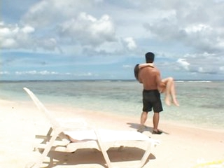 Super Hot Asian Babe Momo Sucks and Bonks a Cock on the Beach