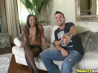 Interracial Hardcore Action With Stunning Ebony On Lingerie