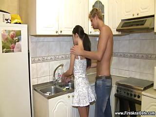 Hot Brunette Full Body Workout In Kitchen