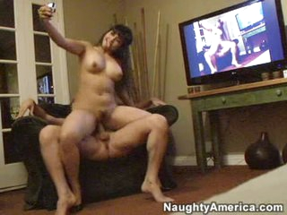 Exotic hottie Mika Tan pounds her pussy on to a long thick cock