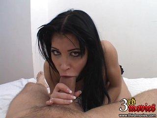 Sexy Latina Rebecca Linares gags on a massive cock