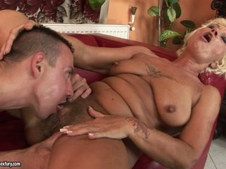 Horny grandma goes avid hot with a young man's throbbing cock
