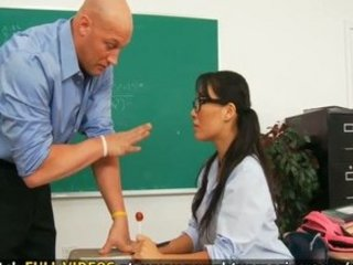 Asa Akira screams on her teachers desk