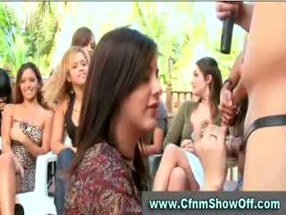 CFNM dude licks ass and cums in public at CFNM party