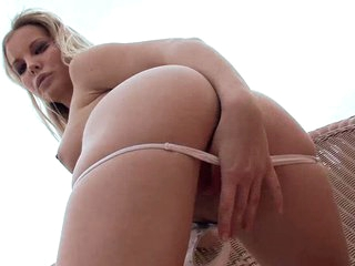 Super sexy blonde Rose goes solo outdoors