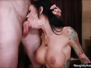 Busty tattooed brunette Angelina Valentine acquires slam fucked