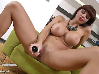 Big titted porn diva Aletta Ocean strips and masturbates