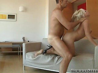 Rocco fucks naughty blonde Bibi Fox