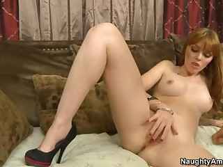 Redhead hottie Marie McCray enjoys guy's erection