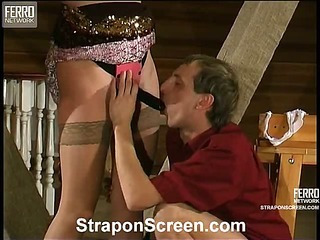 Laura&Cyrus strapon assfucking action