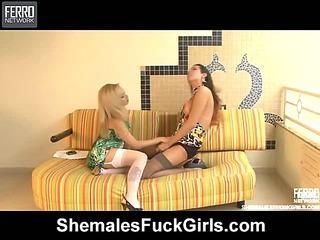 Patricia&Sabrina shemale fucking girl on video