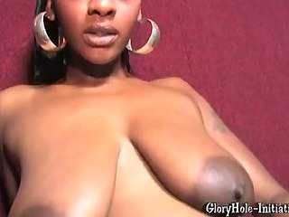 Betty boo-pussy got wet by seeing the cock poke through the gloryhole