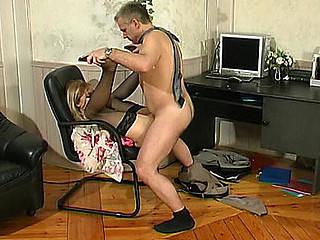 Filthy lass having kicks luring desirous older male into sizzling sexy boning