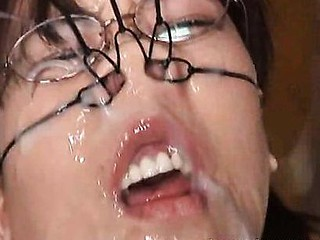 Ibuki Haruhi acquires bukkake cum facual cumshots during the time that bound up and with ball gag and nose clip.