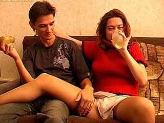 Nik has decided to get Luiza drunk so this guy can get into her pants. It's a time honored tradition among studs and it nearly always has the desired effect cuz the ladies just can't resist. This juvenile gal is no different and when that babe gets loaded that babe stands and does a sexy striptease that ends with her posing in a beautiful pair of lace top nylons. Even then that babe's still chugging down more alcohol cuz this babe's high on the buzz. Nik's intended result eventually comes about as the sexy drunk slut is giving him a oral-stimulation and then sitting on his dick