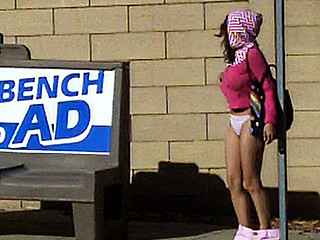 This is classic! We saw LIttle Pink Riding Hood here awaiting for the bus in those hawt tiny shorts. We figured if that babe's showing off those legs, that babe won't mind showing off her booty too! I don't think this chick had any idea what just happened.