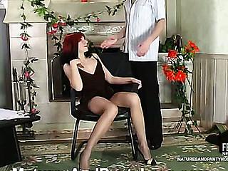 Kickass aged chick getting her mellow twat widen throughout silky hose