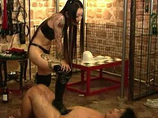 Payback time  this female dominatrix tortures hes serf as fellows does in thraldom movies. The tables had turned and this femdom will give no lenience to those bad chap slaves. Those male slaves are burn with candle wax  whipped  spanked and gagged. Watch how femdoms castigate their slaves in comparison to slavery angels.