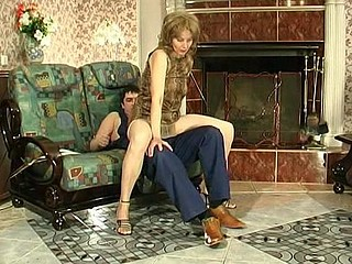 Lewd mommy in silky hose giving legjob burning with desire for hard drilling