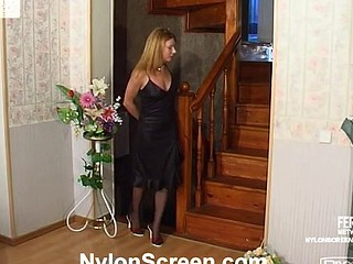 Randy chick in soft nylons warming up her muff previous to gagging on jock