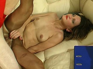 Hawt older chick in shiny tan hose making widen-eagle for mighty weenie