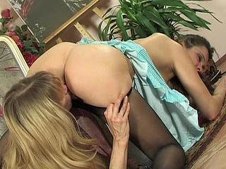 Raunchy women getting to take up with the tongue-n-kiss bout out of taking off their tights