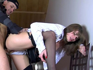 Office hotty gets fucked by a courier after changing into back seam nylons