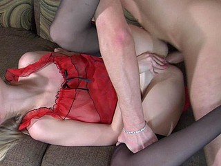 Dazzling chick in lovely red underware desirous for frenzied backdoor boogie