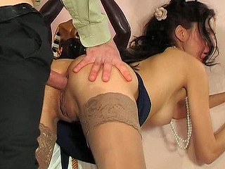 Dressed up for the outing a skinny hotty gets her brown eye pierced after oral