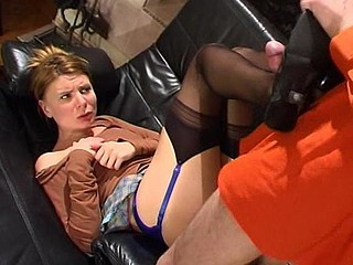 Nasty coed teasing her nylon eager tutor and getting nailed on the sofa