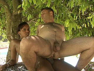 Sexy swarthy t-girl feeds her obese sturdy shaft to a ready waiter at the cafe
