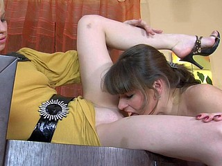 Nasty lesbo hotties get rid of their hosiery craving to eat a tasty fur pie