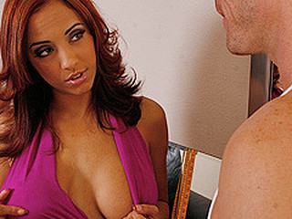 Johnny and Mulani entered a dance competition and have to rehearse in front of judges. After Johnny slips up cuz this guy can't get his mind of Mulani's boobs, this babe gives him a large smack of what this guy desires so that guy can focus and they can win the competition.