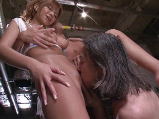 Sumire Matsu is ready to be fucked by two dirty men. This hot Japanese milf can't get enough cock. She bends over for a rimjob and pussy fingering, then proceeds to give a blowjob and an amazing titty fuck.
