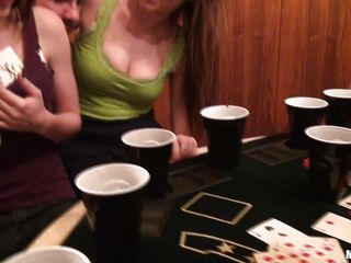 Three very hot teens are playing poker when they start feeling horny so they take their tops off showing us their young perky breasts. They start licking each others breasts before they decide to get on their knees and share a guys dick. Will they suck his dick until he cums on their faces?