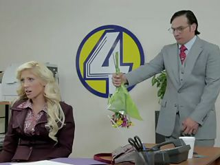 Live from channel four! This guy is bringing his girl flowers and then she repays him with a blowjob before ridding his hard dick in the back of the studio. Isn't it nice, how the brunette appreciates him? Perhaps a load of cum on her pussy will make her happier then those flowers. Let's find out!