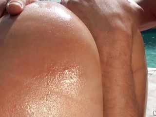 Blonde bitch, Viktoria Diamond is having a hardcore at outdoor. She has her round butt all oiled up and the ass & pussy licked well. the the horny dude do her from behind. After having a bit drilling they are back to kissing and fingering pussy. Viktoria gives a bit blowjob too. Than she starts to ride the cock in full swing!