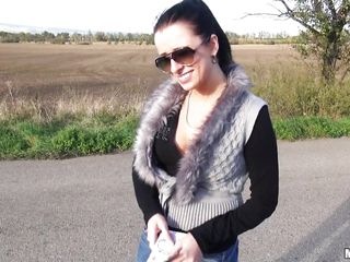 This sexy brunette is a bitch i meet her today when i walking out of the town. I am horny and i want to fuck her in the middle of the street because that is one of my fantasies. So i give her money and she is now sucking my cock very nice and slow before i take of her clothes and fuck her hard.