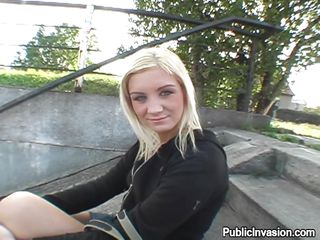 slutty blonde is sitting in the park to amuse her self. A man comes towards him with a cam and ask her if she likes the porn on tv and gets very excited after her answer in yes. He praises her and asks her to show her tits after watching her nice tits then ask her to show her tight pussy, he fingers it then ask her to lick his big dick but she can't as there was public around them. After moving to the safe place she gives a blowjob.