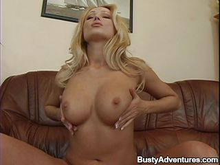 She's my Diamond and her blonde hair, big natural breasts and huge lust for my cock always amazes me. Here she is, fucking her shaved tight cunt with that big red dildo I gave her and after she finishes I probe her mouth with my finger before inserting my hard cock between her juicy lips.