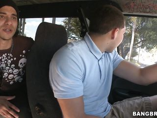 Sweet redhead with an attractive body is being picked up in the Bang Bus. Will she have sexual intercourse with one or more guys? In what positions will she sit? Is she going to feel someone's cum on her pretty face?