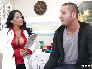 She's not only a gorgeous milf with huge boobs and a delicious ass, the Hispanic sex bombshell is a doc too and this time she decides to give this guy a very special treatment! Kiara kisses him and then offers her huge, superb boobs for some licking. She then bends for a hot rimjob and decide to suck the guy