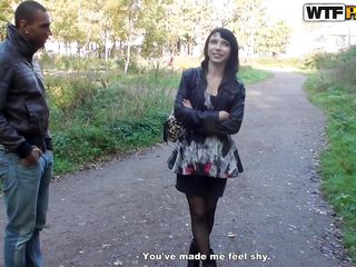 A slutty brunette is getting picked up in the park by a black male. He founds out that this bitch can be a easy fuck and after some talking she raises her skirt and shows a beautiful butt. That booty and her pretty face is making the dude horny and it looks like she's going to get pounded on the spot