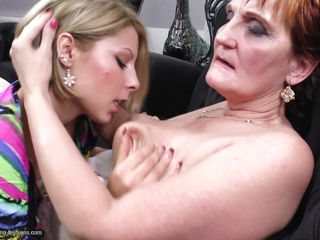 This young blonde chick Veronique X is a naughty one and she loves to lick mature clitoris. She has this granma Angelina and quench her thirst of pussies with hers. Watch how she kissed her and sucked nipples with groping those mature tits. And then she gets down and licks the juice out of that old pussy!