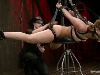 Hot babe Remy Lacroix is tied up with black leather belts, her mouth is gagged with a ball and she has a small chair underneath her belly. The mistress rubs and whips her pussy and then uses suckers on her sweet breasts to induce some pain. Now that she's ready she hangs the fucking slut, curious why?
